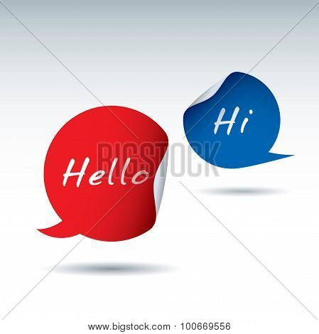 Vector Color Stickers And Bubbles. Text Hello And Hi.