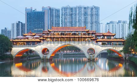 Chengdu Anshun Bridge At Dusk