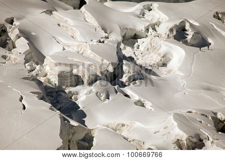 Deep glacier crevasses on Jungfraujoch, near Interlaken, Switzerland