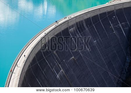 Concrete dam wall. Mooserboden high altitude reservoir near Kaprun - Zell am See Austria