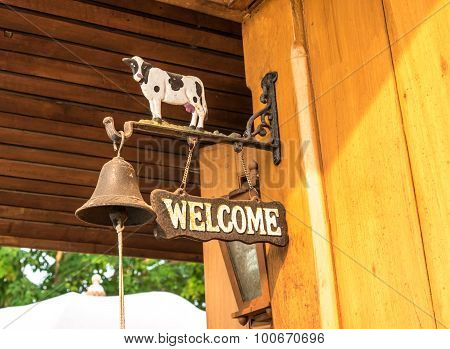 Iron Welcome Sign With Bell And Cow