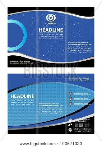Three-fold brochure template design with blue color
