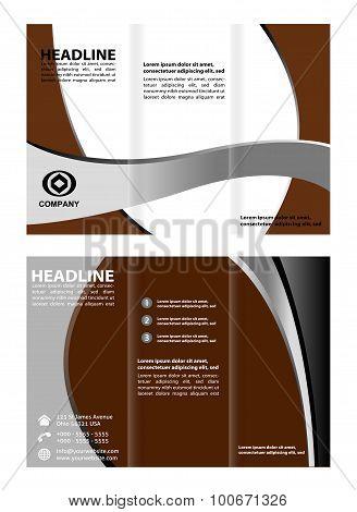 Brown Corporate Tri Fold Brochure vector illustration
