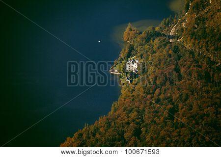 Aerial view of Hallstatt lake Salzkammergut Austria