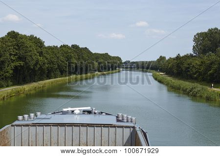 Bramsche (germany) - Mittelland Canal And Bow Of A Vessel