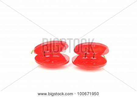 Spanish flamenco castanets isolated on a white background