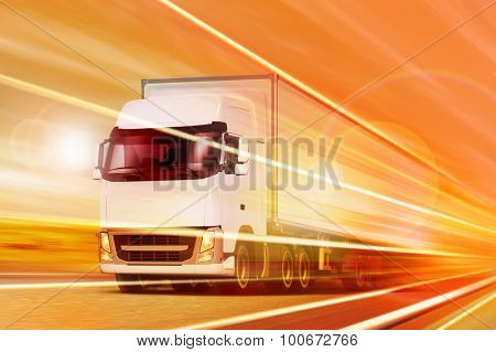 White truck moving in tunnel at night