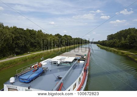 Bramsche (germany) - Shipping Traffic On The Mittelland Canal