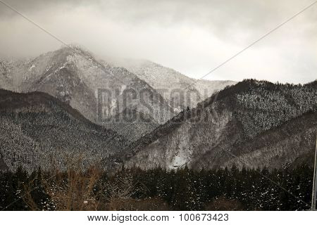 Winter scene in the Japanese alps Nagano prefecture