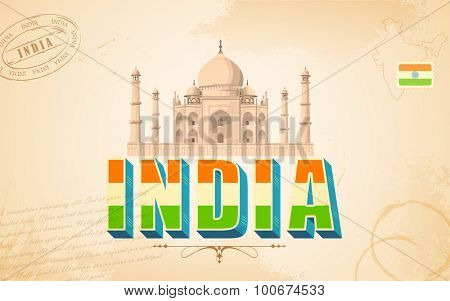illustration of Taj Mahal in India background