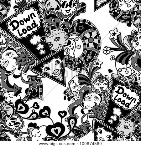 Seamless pattern with doodle monsters white black