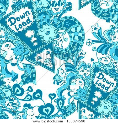 Seamless pattern with doodle monsters blue