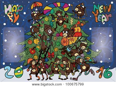 Funny Monkeys Greeted The New Year