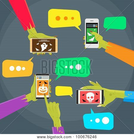 Zombie Hands Mobile Cell Smart Phone Call Flat