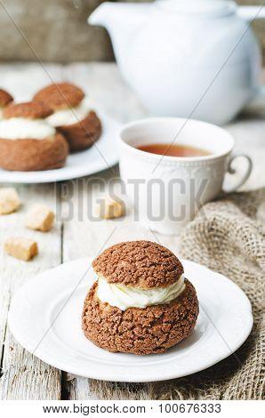 Chocolate Profiteroles, Shu, With Cream