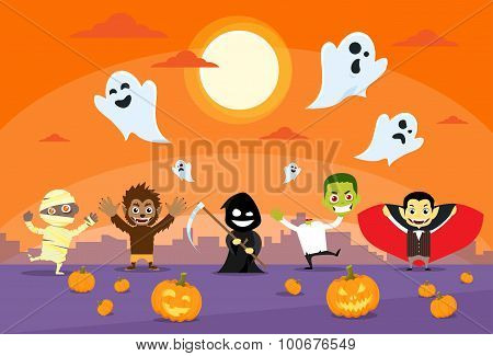 Halloween Monsters Banner Card Zobmbie Vampire Ghost Death Grim Reaper Werewolf