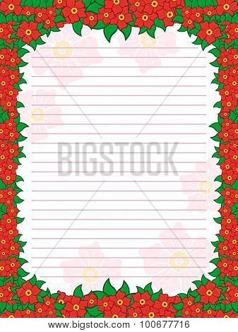 Sheet Of Notepad With Floral Frame In Red Hues
