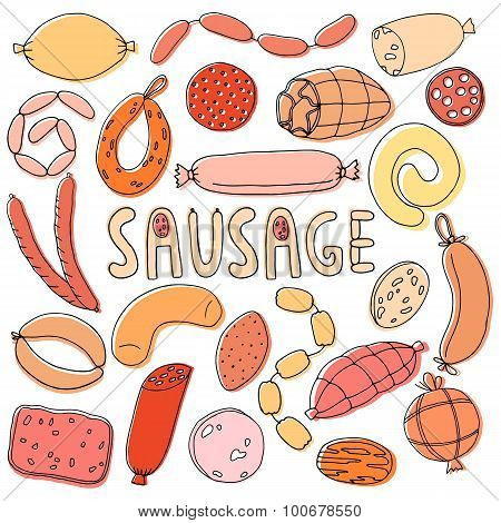 Hand drawn food sausage set . Wurst  background collection