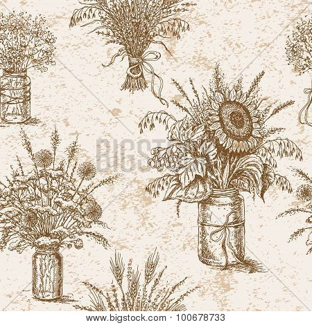 Pattern With Bouquets Of Flowers, Cereals And Dried Herbs In Rustic Style