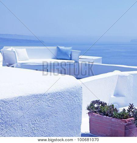 The Sea View Terrace With White Sofa, Santorini, Greece