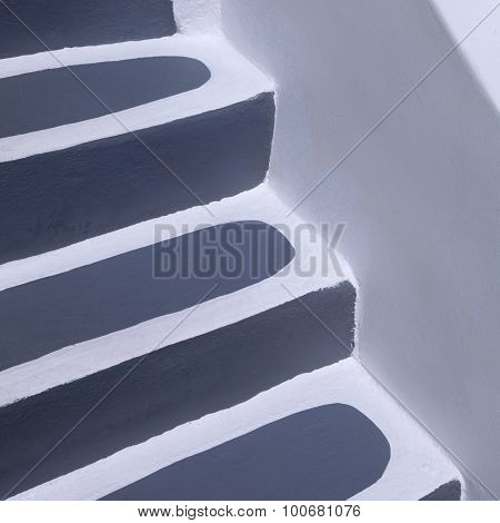 Detail Of Grey And White Steps In Oia, Santorini