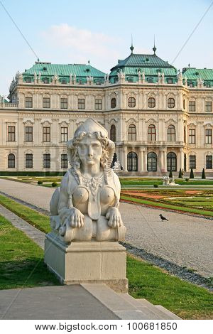 Statue Of Sphinx In Belvedere Palace Gardens In Vienna, Austria