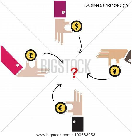 Businessman Hand With Money Icon. Monetary Finance Conceptual. Business Design Elements.