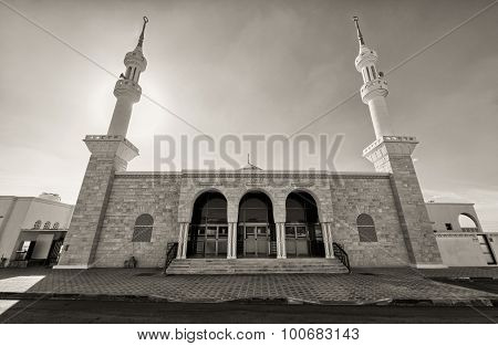 Black and white mosque with two minarets