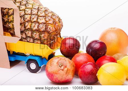 Tropical Fruit On Truck With Package