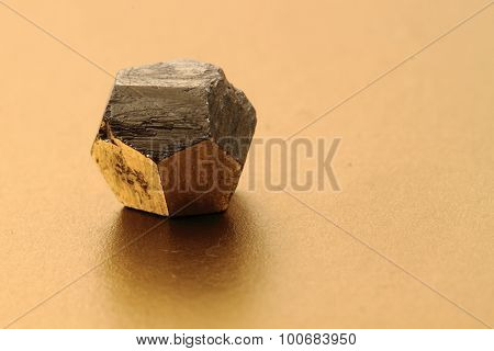 Pyrite Gold Crystal Isolated