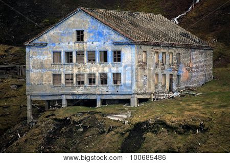 Abandoned house left in decay, Svalbard, Norway
