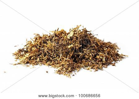 Small Heap Of Loose Tobacco,  Isolated On A White Background