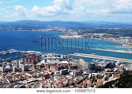 Gibraltar town and Spanish coastline.