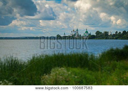 Spaso-Yakovlevsky Monastery on the lake Nero, blurred tilt shift effect