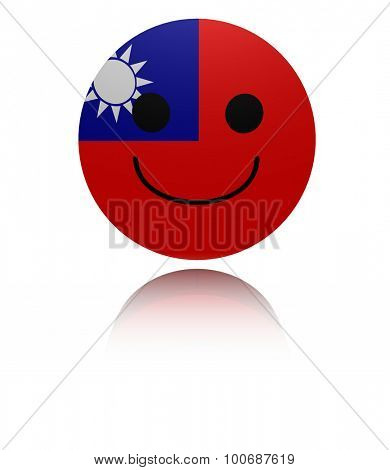 Taiwan happy icon with reflection illustration