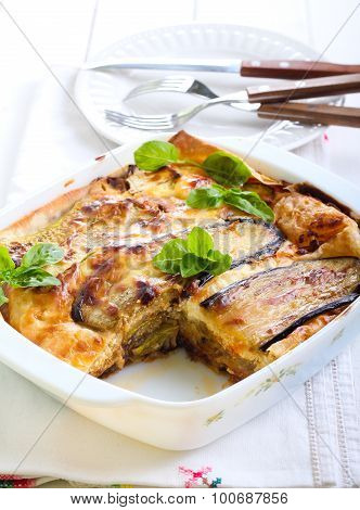 Vegetable Lasagna In A Baking Tin