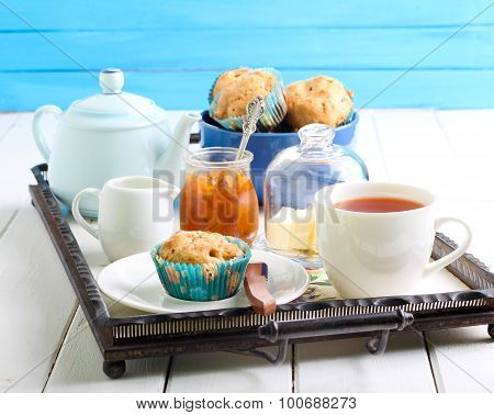 Muffin, Cup Of Tea And Jam