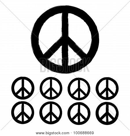 Black Peace Symbol In Grunge Style