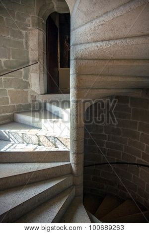 Concrete, brick and stone spiral staircase in Annecy, France