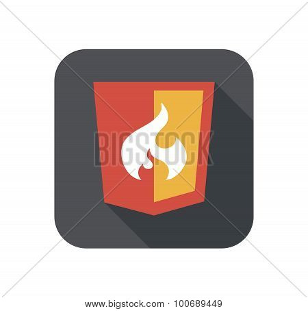 vector illustration of web shield, flame php framework, isolated flat design site development icon o