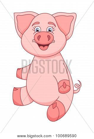 Funny piggy sitting and smiling