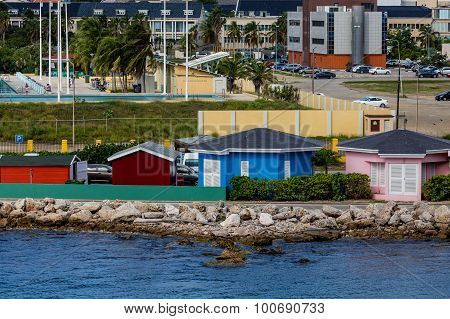 Colorful Cottages On Curacao Coast