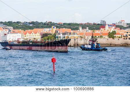 Tugboats And Tanker In Curacao