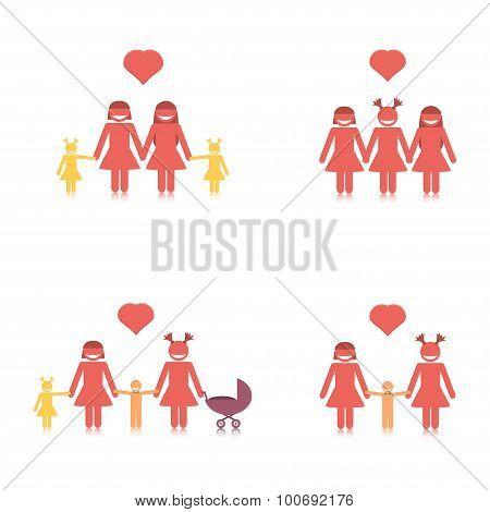 Happy lesbian family set.