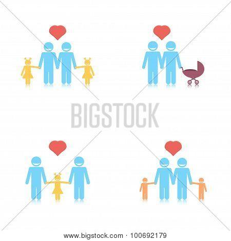 Happy gay family set.