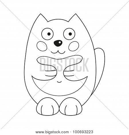 Vector illustration of funny fatty cat, coloring book page