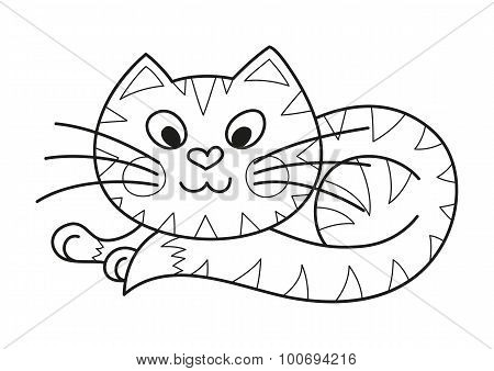 Cartoon plump kitty, cute striped cat, coloring book