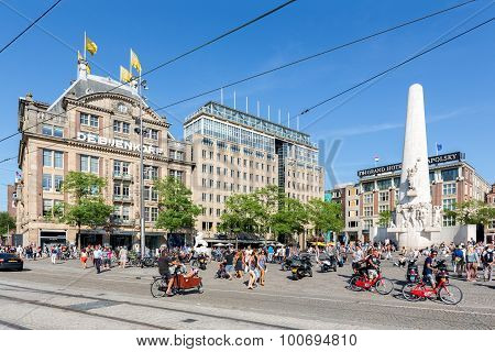 Dutch National War Memorial At Central Plaza In Amsterdam,