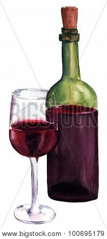A watercolor drawing of a glass and a bottle of red wine