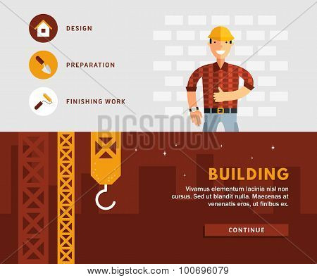 Profession Concept. Builder And Building. Flat Design Concepts For Web Banners And Promotional Mater